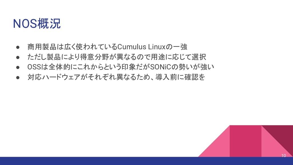 NOS概況 ● 商用製品は広く使われているCumulus Linuxの一強 ● ただし製品によ...