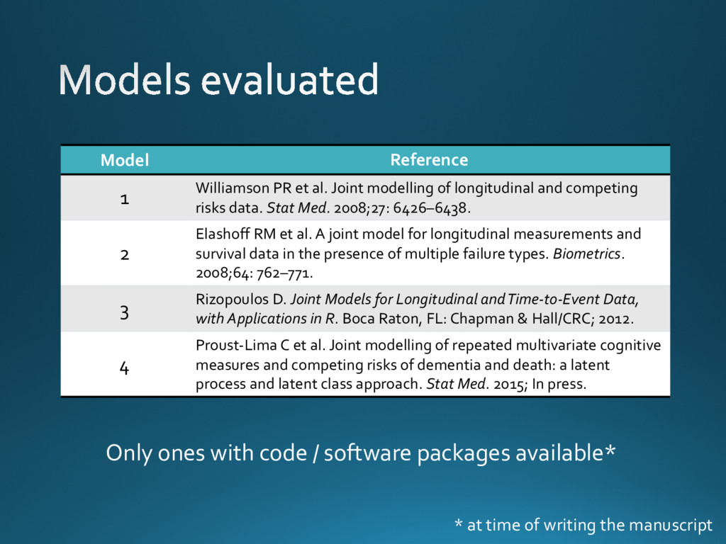 Model Reference 1 Williamson PR et al. Joint mo...