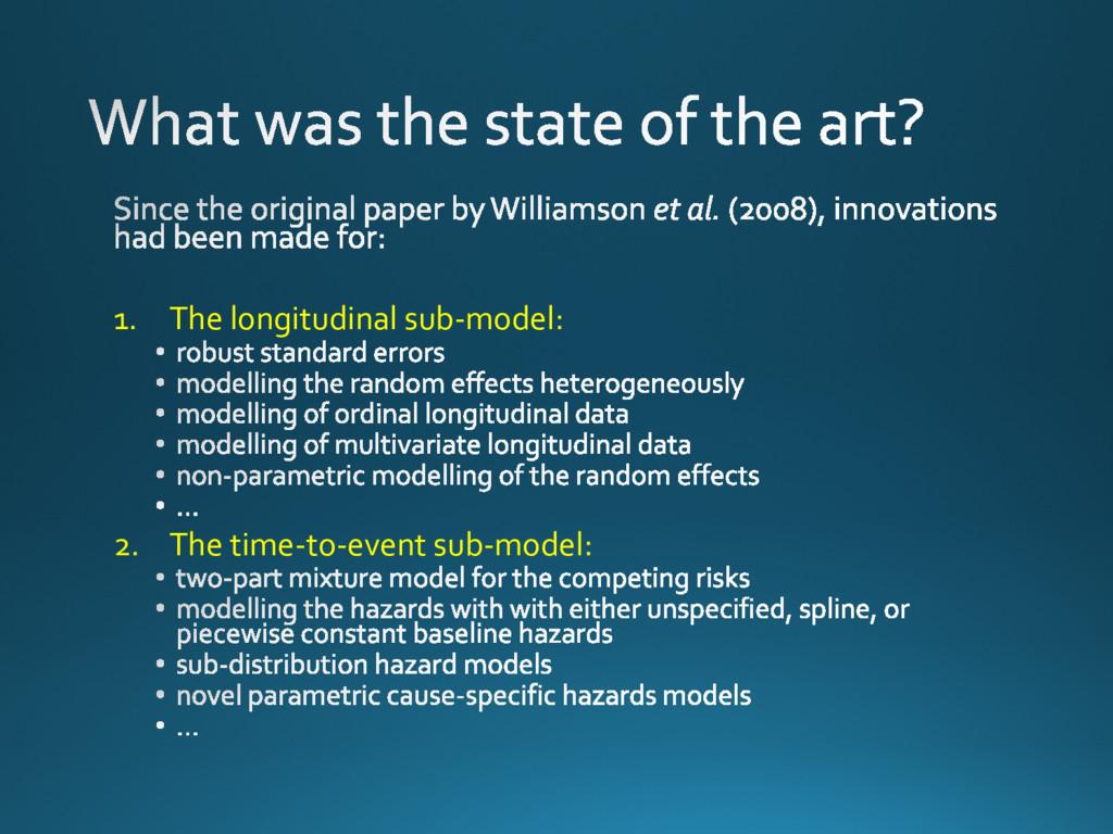 1. The longitudinal sub-model: 2. The time-to-e...
