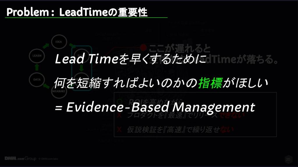 © DMM.com labo 20 Problem : LeadTimeの重要性 IDEA B...