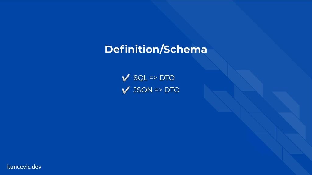 kuncevic.dev Definition/Schema ✅ SQL => DTO ✅ JS...