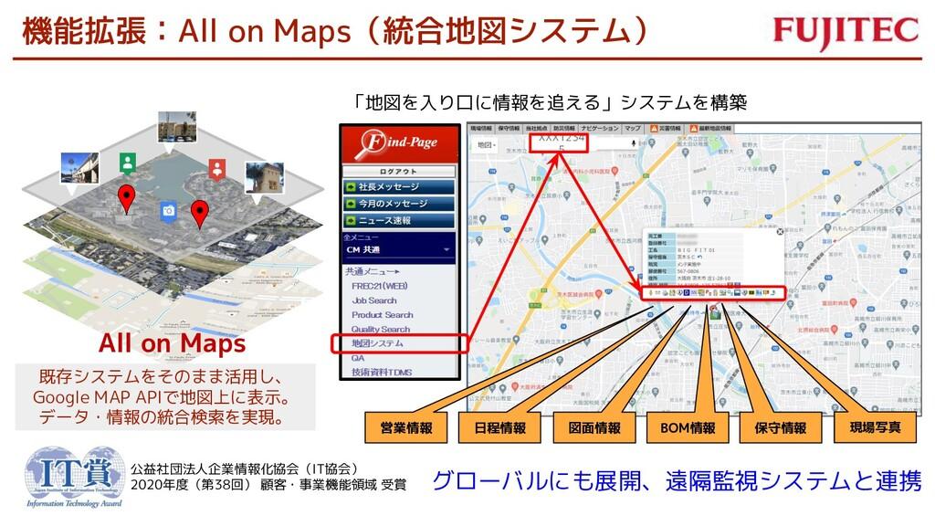 機能拡張:All on Maps(統合地図システム) All on Maps 既存システムをそ...
