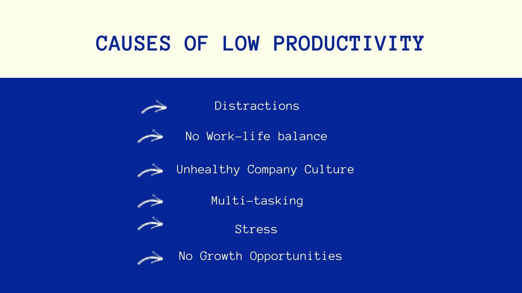 No Work-life balance CAUSES OF LOW PRODUCTIVITY...