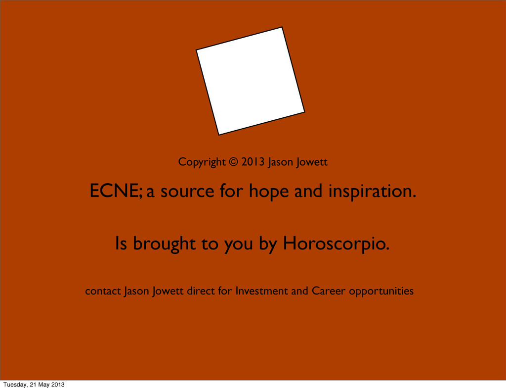 ECNE; a source for hope and inspiration. Is bro...