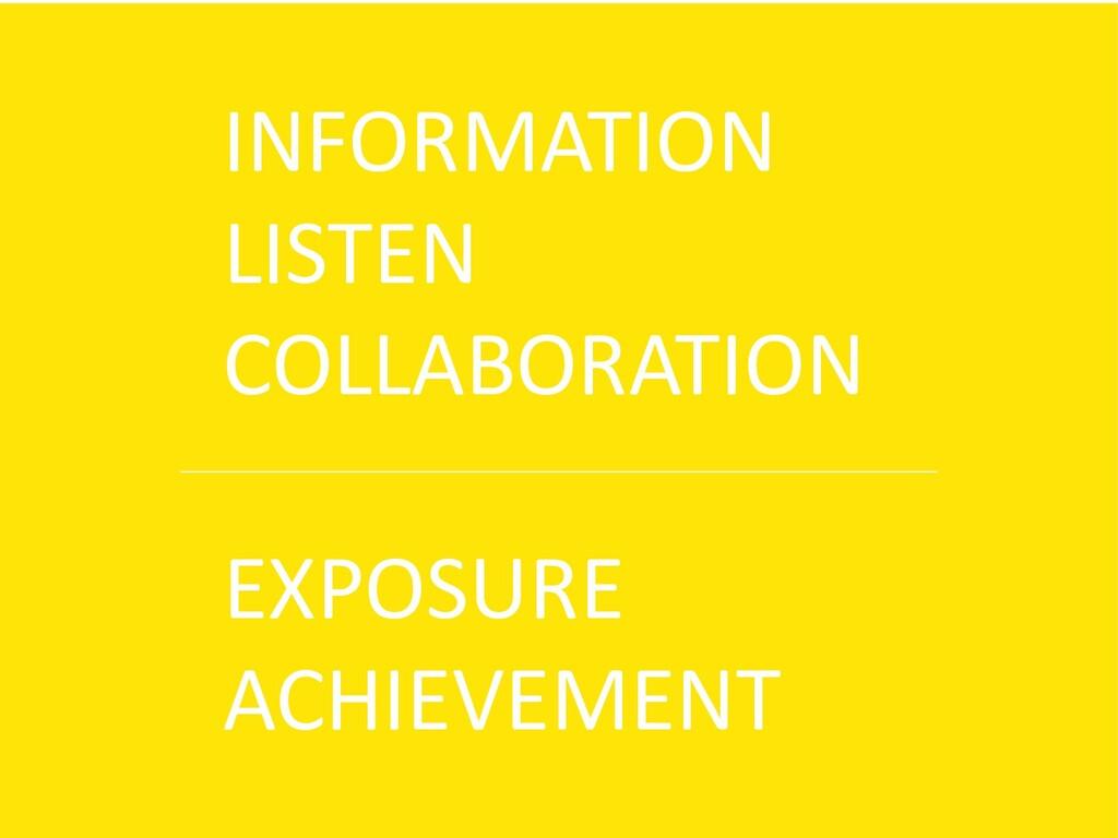 INFORMATION LISTEN COLLABORATION EXPOSURE ACHIE...
