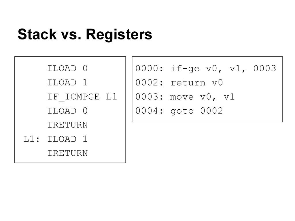 Stack vs. Registers 0000: if-ge v0, v1, 0003 00...