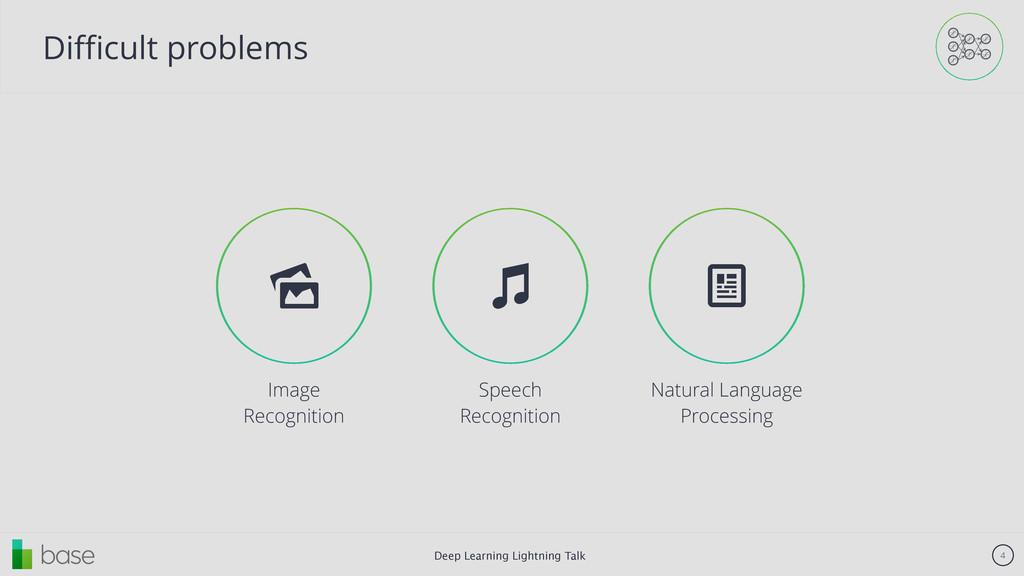 Deep Learning Lightning Talk 4 Difficult problems...