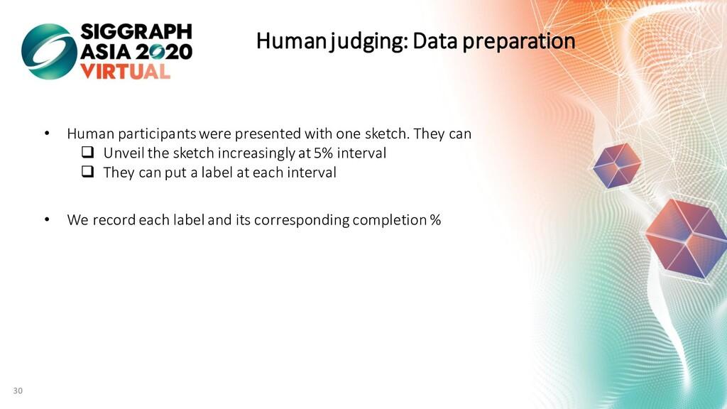 Human judging: Data preparation 30 • Human part...