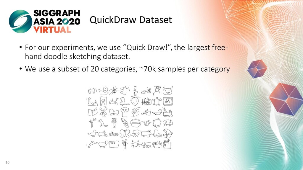 QuickDraw Dataset • For our experiments, we use...