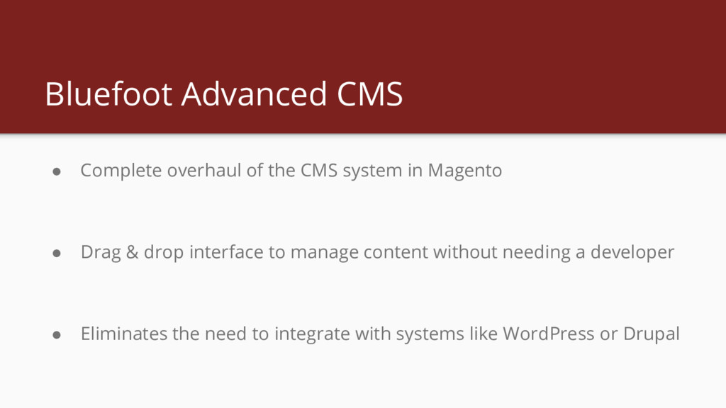 Bluefoot Advanced CMS ● Complete overhaul of th...