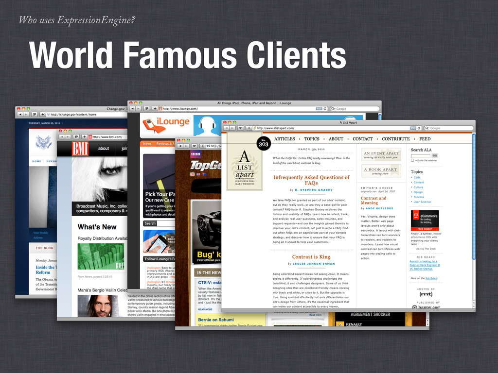 Who uses ExpressionEngine? World Famous Clients