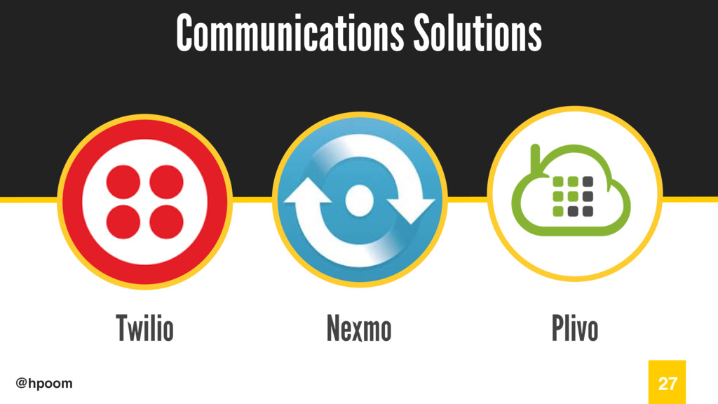 / @hpoom Twilio Communications Solutions 27 Nex...