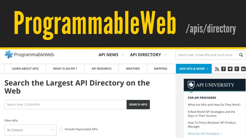 / @hpoom ProgrammableWeb /apis/directory