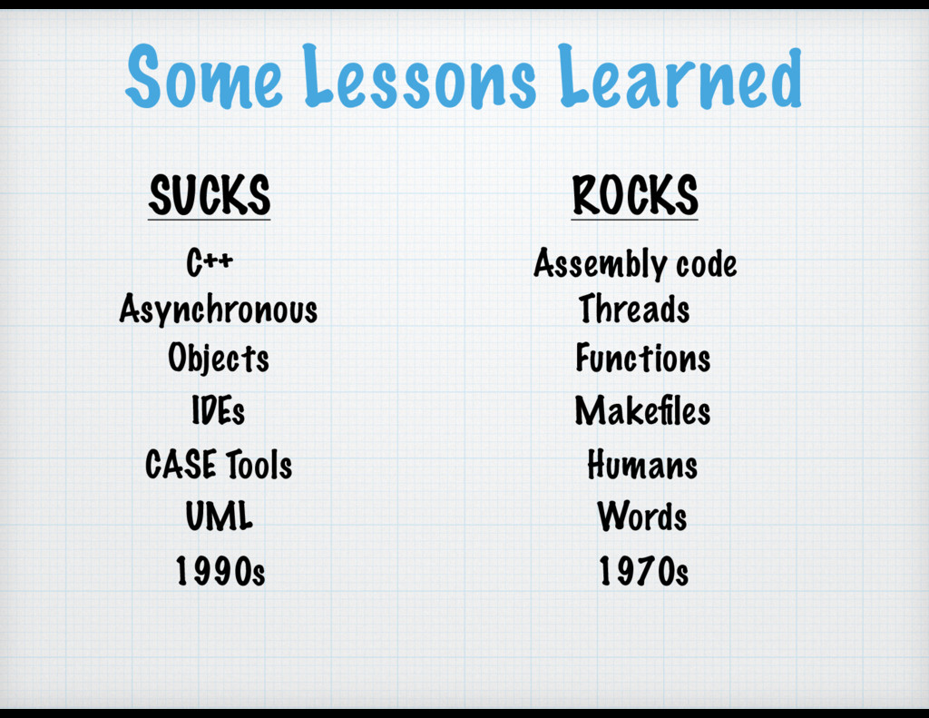 Some Lessons Learned SUCKS ROCKS C++ Assembly c...