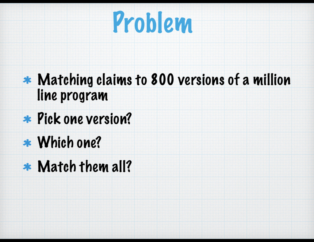 Problem Matching claims to 800 versions of a mi...