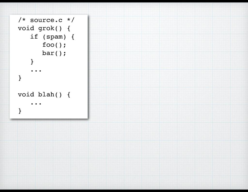 /* source.c */ void grok() { if (spam) { foo();...