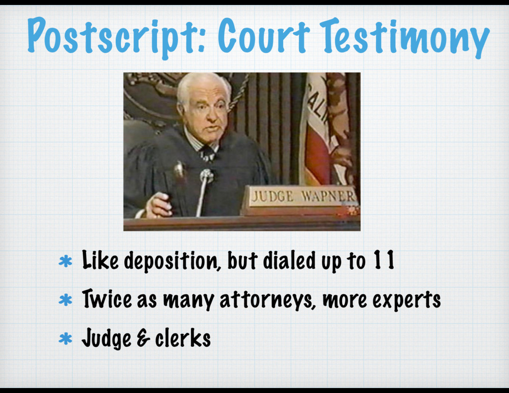 Postscript: Court Testimony Like deposition, bu...