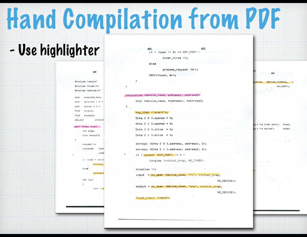 Hand Compilation from PDF - Use highlighter