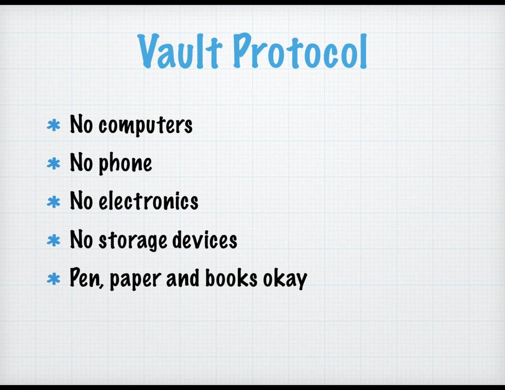 Vault Protocol No computers No phone No electro...
