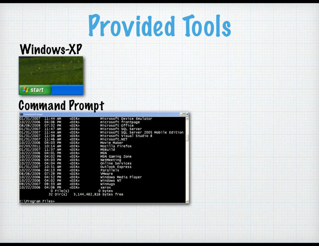 Provided Tools Windows-XP Command Prompt