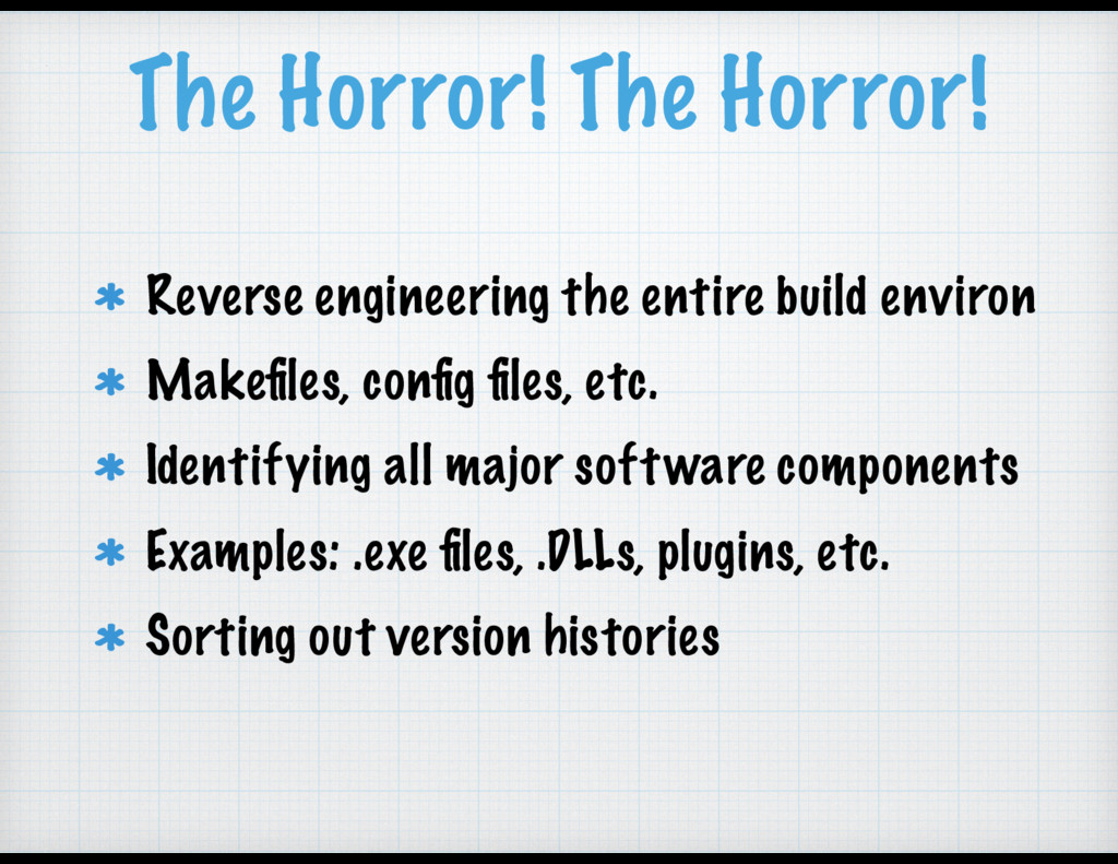 The Horror! The Horror! Reverse engineering the...