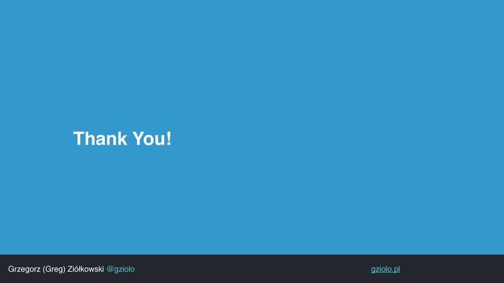 Thank You! Grzegorz (Greg) Ziółkowski @gziolo g...