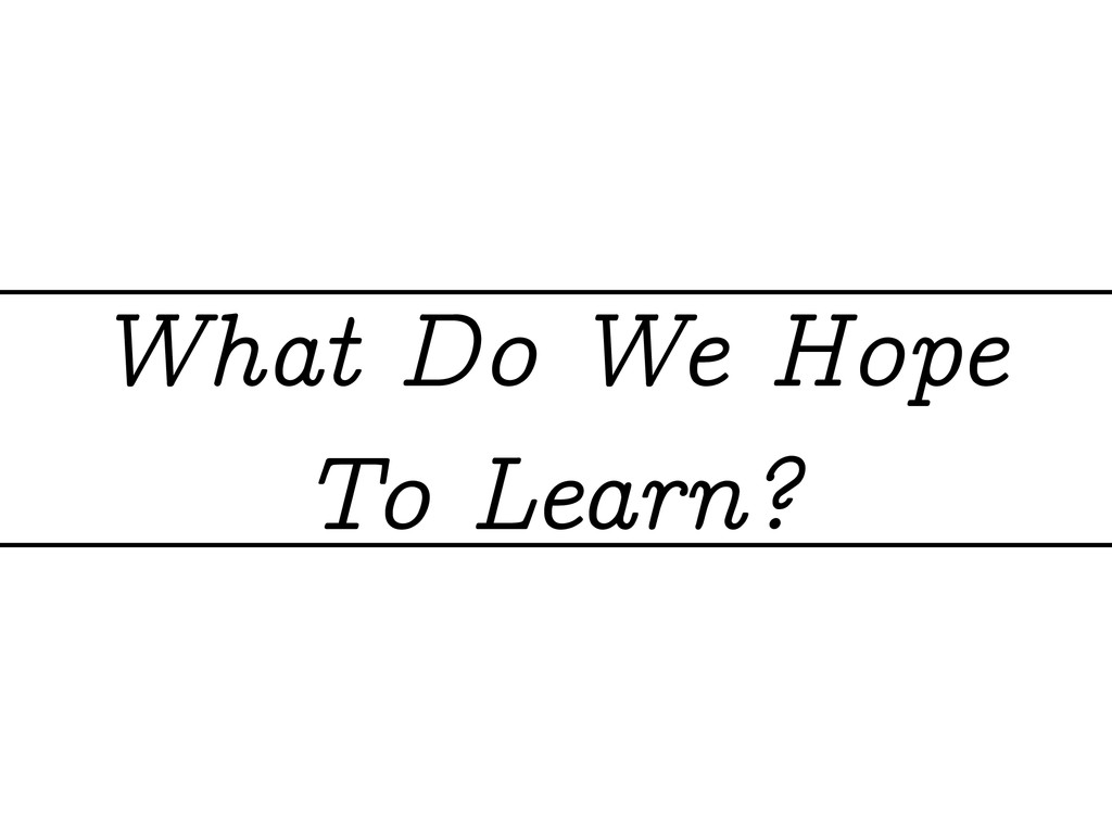 What Do We Hope To Learn?