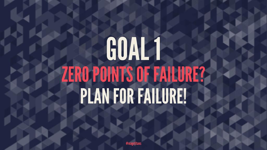 GOAL 1 ZERO POINTS OF FAILURE? PLAN FOR FAILURE...
