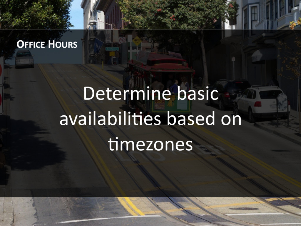 Determine basic availabiliHes based on Hmezones...