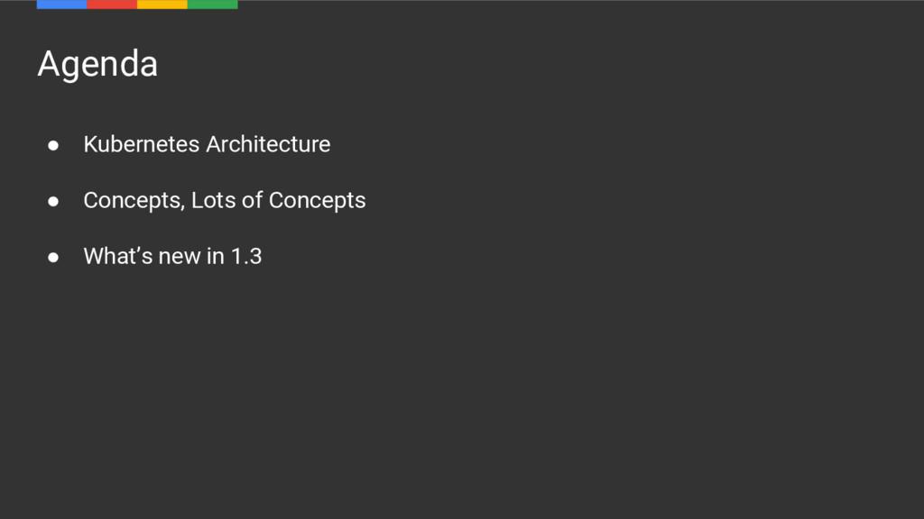 Agenda ● Kubernetes Architecture ● Concepts, Lo...