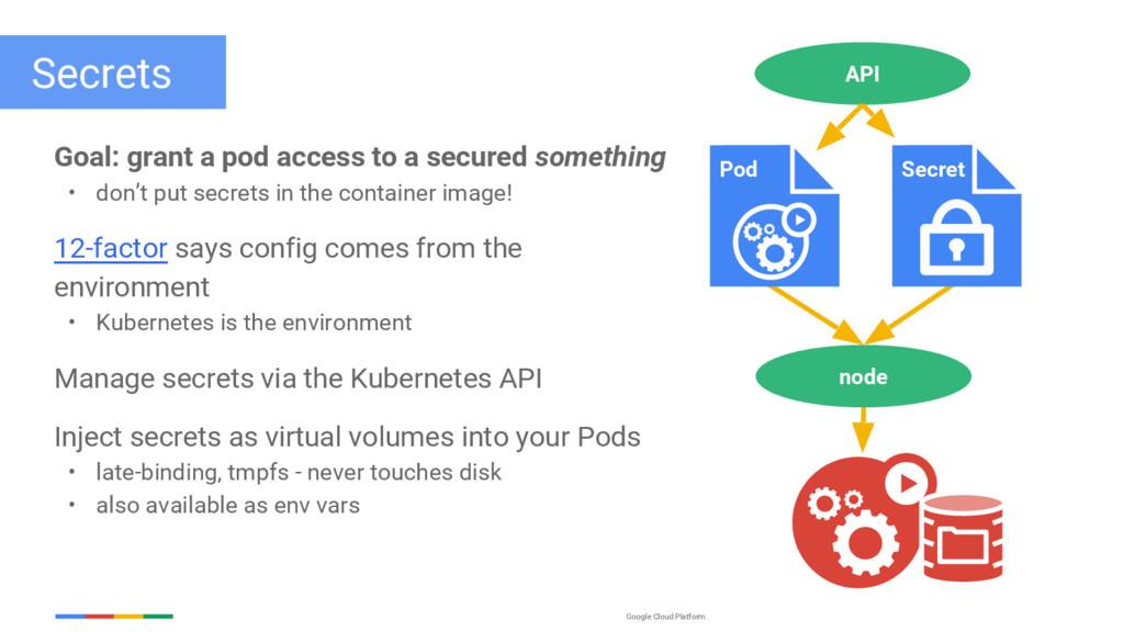 Google Cloud Platform Secrets Goal: grant a pod...