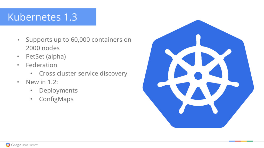 Kubernetes 1.3 • Supports up to 60,000 containe...