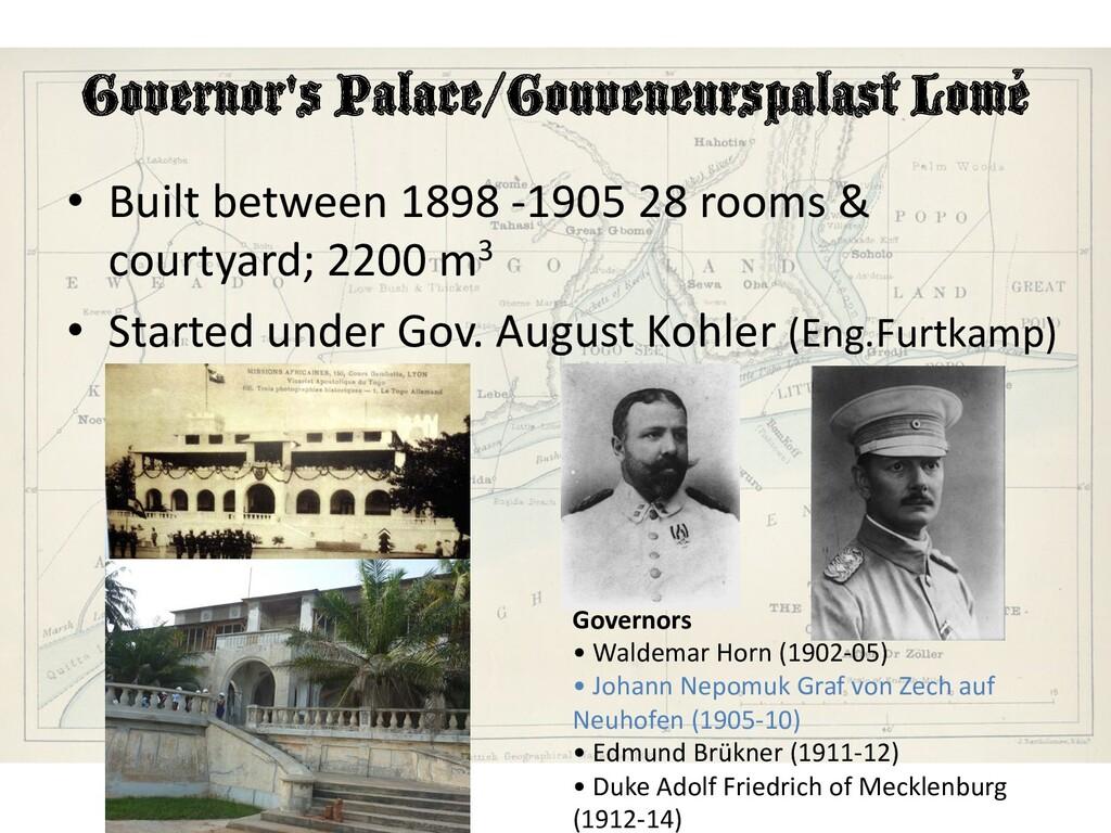 Governor's Palace/Gouveneurspalast Lomé • Built...