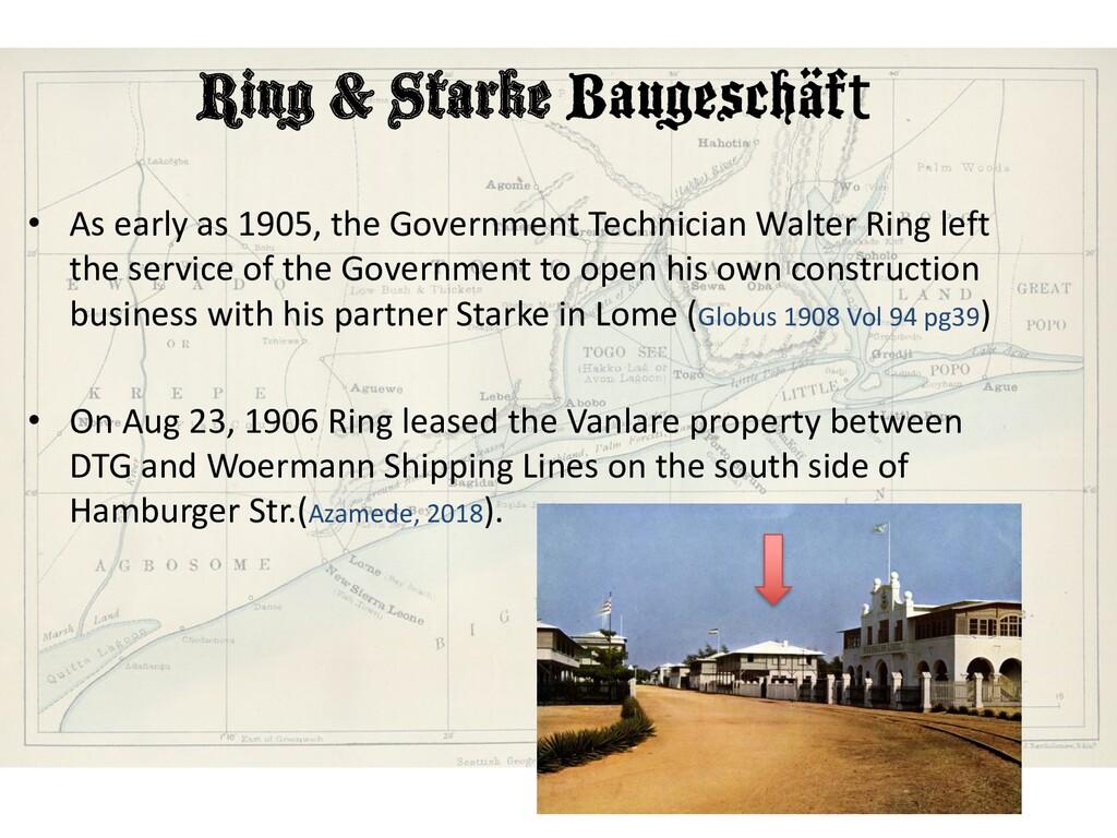 Ring & Starke Baugeschäft • As early as 1905, t...