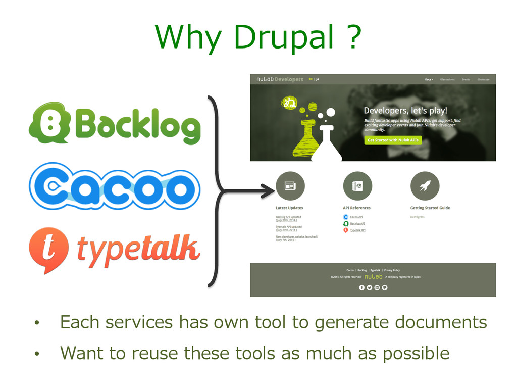 Why Drupal ? • Each services has own too...