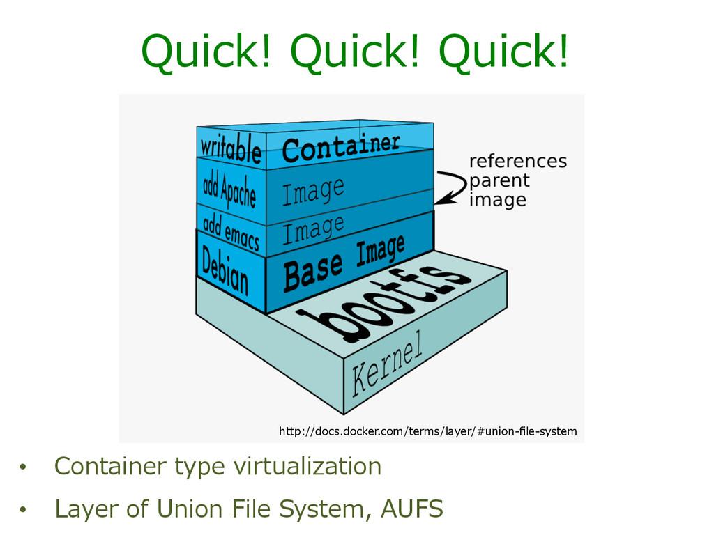Quick! Quick! Quick! • Container type virt...