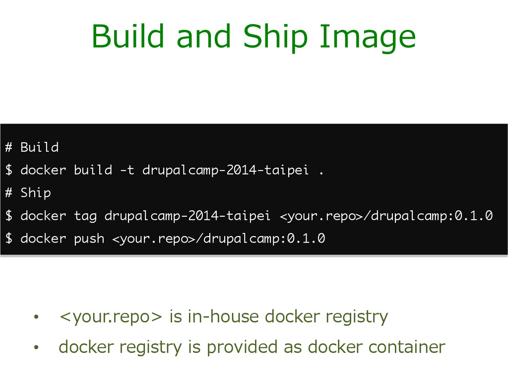 Build and Ship Image • <your.repo> is in-...