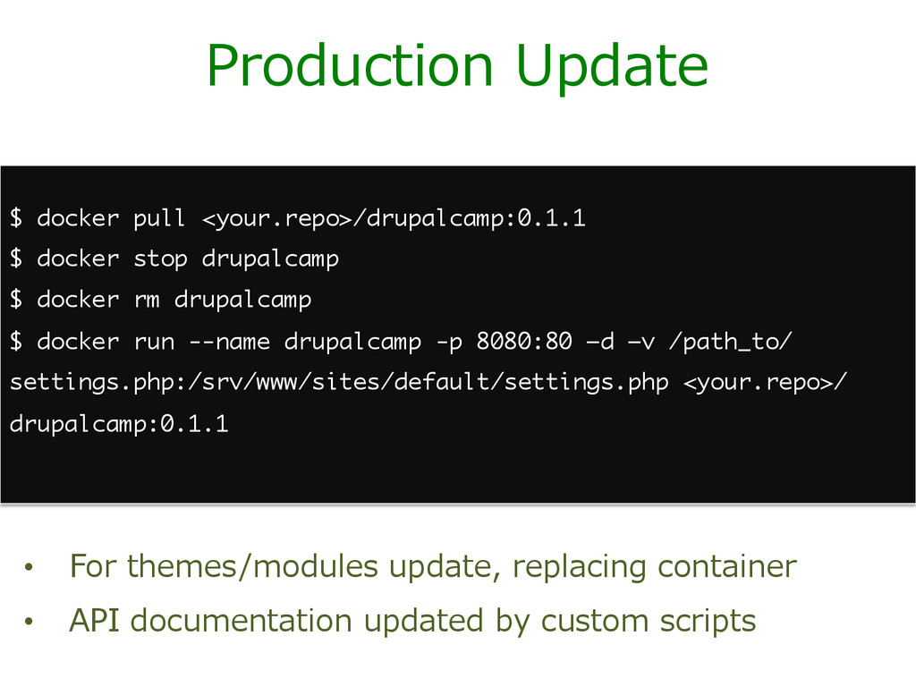 Production Update • For themes/modules upda...