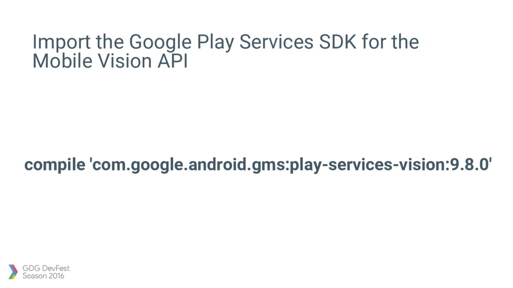 Import the Google Play Services SDK for the Mob...