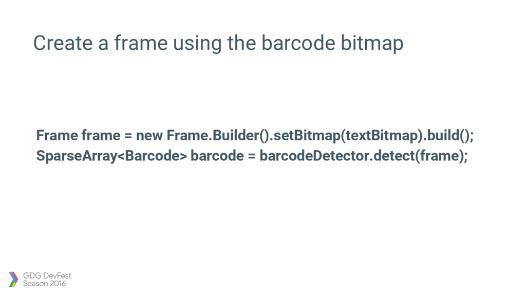Create a frame using the barcode bitmap Frame f...