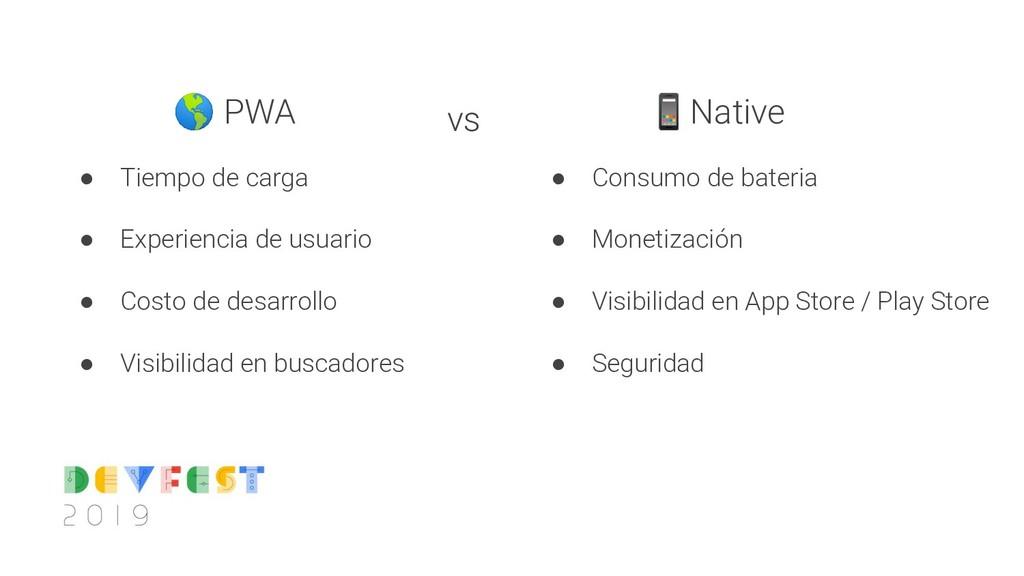 PWA ● Tiempo de carga ● Experiencia de usuario...