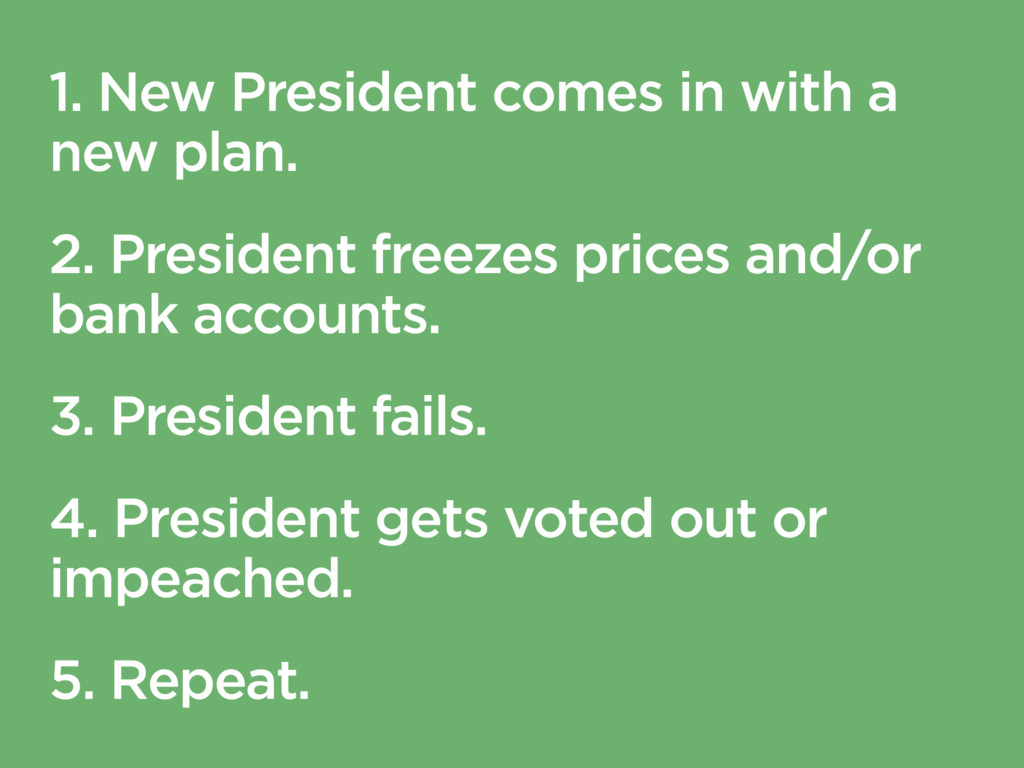 1. New President comes in with a new plan. 2. P...