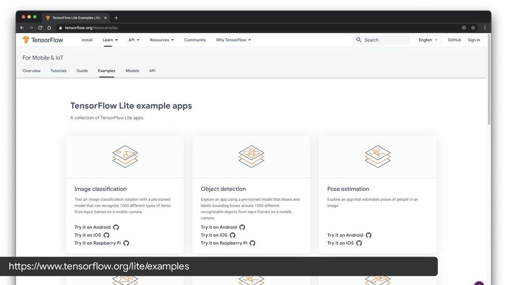 https://www.tensorflow.org/lite/examples
