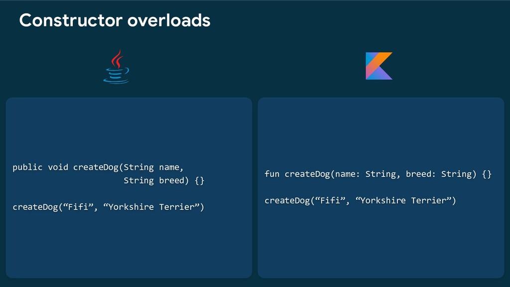 fun createDog(name: String, breed: String) {} c...