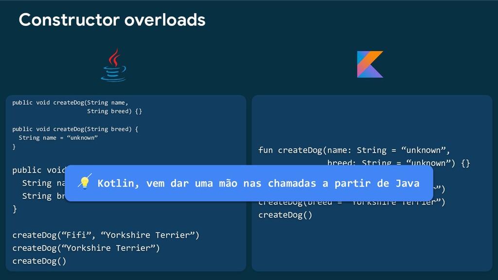 """fun createDog(name: String = """"unknown"""", breed: ..."""
