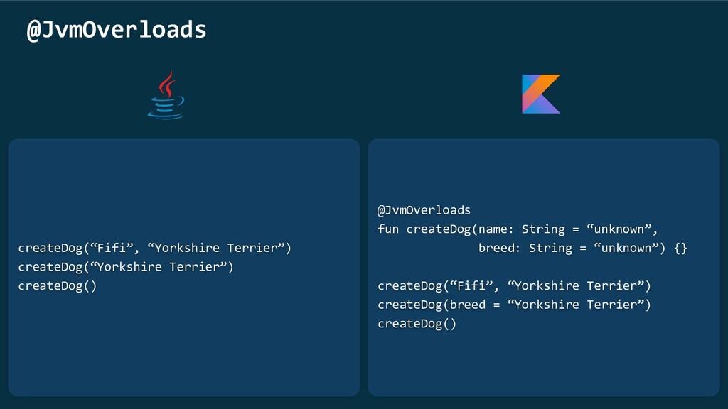 "@JvmOverloads fun createDog(name: String = ""unk..."