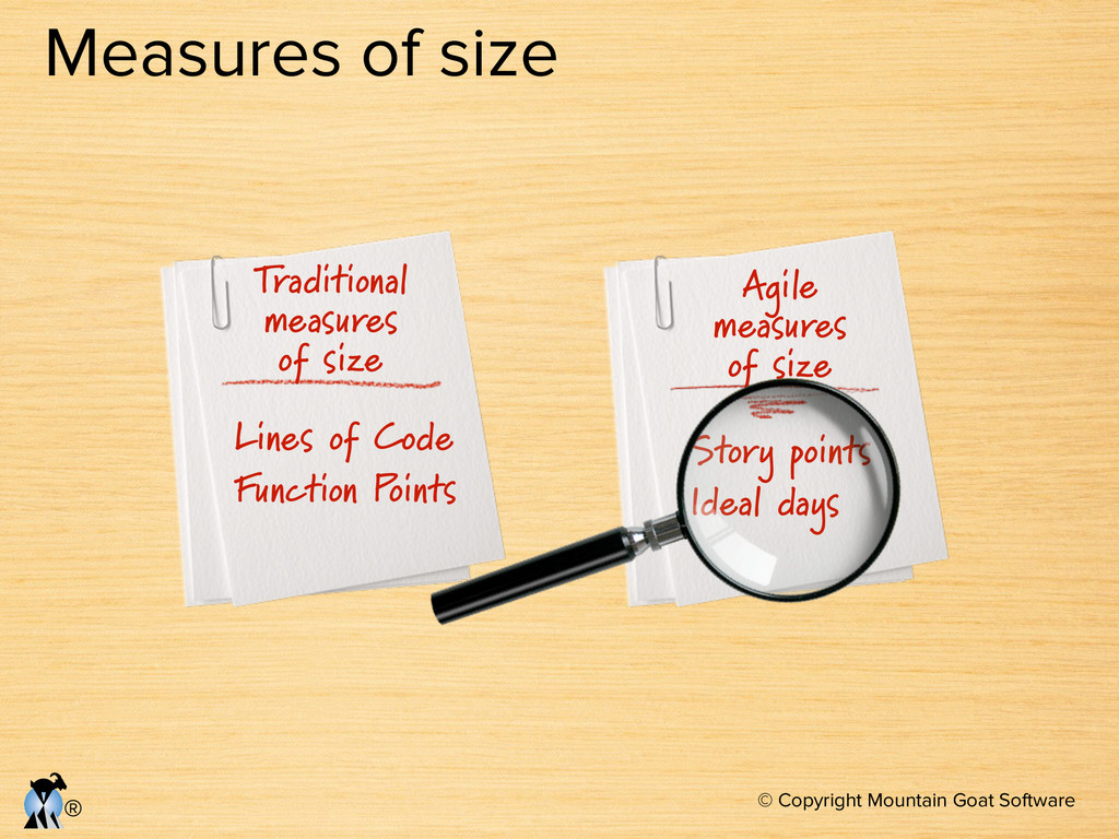 © Copyright Mountain Goat Software ® Measures o...