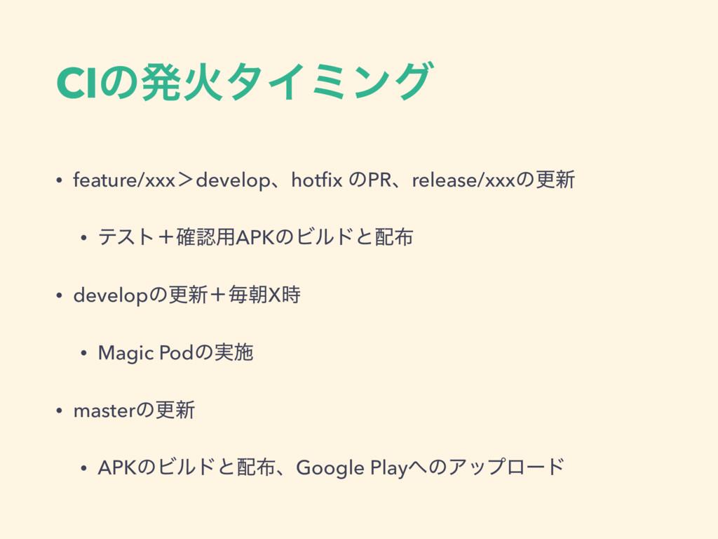 CIͷൃՐλΠϛϯά • feature/xxx'developɺhotfix ͷPRɺrele...