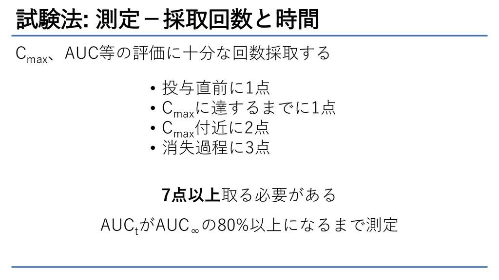 試験法: 測定-採取回数と時間 C max 、AUC等の評価に十分な回数採取する • 投与直前...