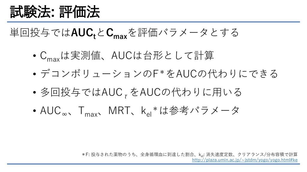 試験法: 評価法 単回投与ではAUC t とC max を評価パラメータとする • C max...